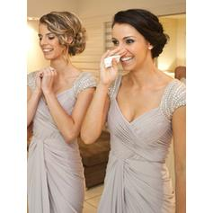 Sheath/Column Jersey Bridesmaid Dresses Beading Sequins Bow(s) Cascading Ruffles V-neck Sleeveless Floor-Length