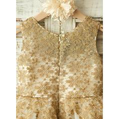 Forme Princesse Longueur genou Robes à Fleurs pour Filles - Tulle/Dentelle Sans manches Col rond avec Motifs appliqués Dentelle (010104954)
