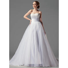 Satin Organza Strapless Court Train Delicate Wedding Dresses (002004149)