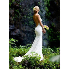 Lace Chapel Train With Spaghetti Straps Wedding Dresses