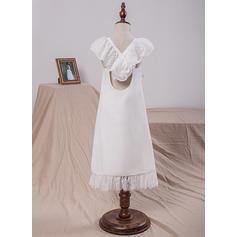 Decote quadrado Vestidos princesa/ Formato A Vestidos de daminha Tecido de seda Curvado Sem magas Comprimento médio (010212061)
