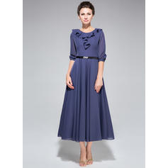 A-Line/Princess Chiffon 1/2 Sleeves Scoop Neck Tea-Length Zipper Up at Side Mother of the Bride Dresses (008211509)