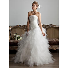 Corte A/Princesa Estrapless Hasta el suelo Tul Vestido de novia con Volantes Bordado Los appliques Encaje (002013799)