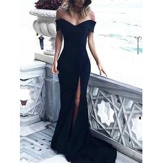 Jersey Sleeveless Sheath/Column Prom Dresses Off-the-Shoulder Ruffle Sweep Train