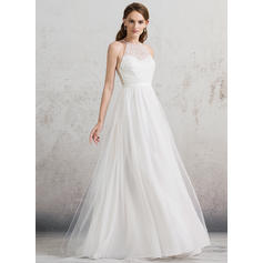 Scoop A-Line/Princess Wedding Dresses Tulle Beading Sleeveless Floor-Length