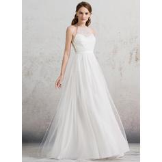Scoop A-Line/Princess Wedding Dresses Tulle Beading Sleeveless Floor-Length (002088486)