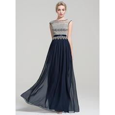 A-Line/Princess Scoop Neck Floor-Length Chiffon Evening Dress