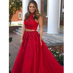Glamorous Tulle Evening Dresses Ball-Gown Floor-Length Scoop Neck Sleeveless