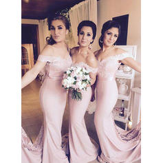 Trumpet/Mermaid Off-the-Shoulder - Jersey Bridesmaid Dresses (007217954)