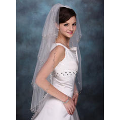 Fingertip Bridal Veils Tulle Four-tier Classic With Beaded Edge Wedding Veils