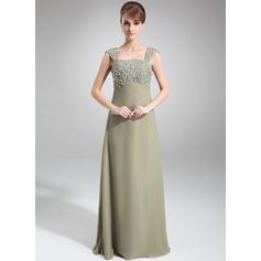Empire Chiffon Sleeveless Square Neckline Floor-Length Zipper Up Mother of the Bride Dresses (008006233)