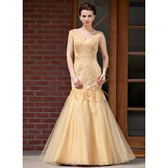 Trumpet/Mermaid Satin Tulle Sleeveless V-neck Floor-Length Zipper Up Mother of the Bride Dresses (008213161)