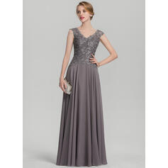 Vestidos princesa/ Formato A Decote V Longos Tecido de seda Renda Vestido para a mãe da noiva com Pregueado (008131934)