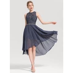 A-Line/Princess Scoop Neck Asymmetrical Chiffon Homecoming Dress With Beading
