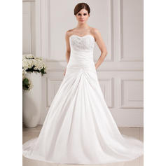 A-Line/Princess Sweetheart Chapel Train Wedding Dresses With Ruffle Lace Beading (002000468)