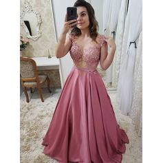 A-Line/Princess Scoop Neck Floor-Length Prom Dresses With Beading Appliques