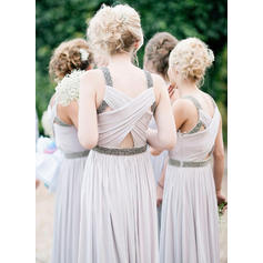 A-Line/Princess Chiffon Bridesmaid Dresses Ruffle Beading Sleeveless Floor-Length (007145069)