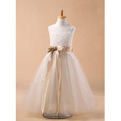 Scoop Neck Ball Gown Flower Girl Dresses Tulle Sash/Bow(s) Sleeveless Ankle-length (010211759)