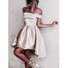 A-Line/Princess Off-the-Shoulder Asymmetrical Satin Homecoming Dresses With Ruffle