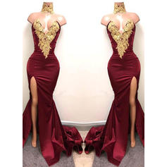 Trumpet/Mermaid Sweetheart Satin Sleeveless Sweep Train Appliques Lace Evening Dresses
