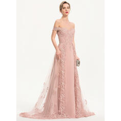 Corte A Off-the-ombro Sweep/Brush trem Tecido de seda Tule Vestido de festa (017186155)