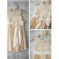 Scoop Neck A-Line/Princess Flower Girl Dresses Lace Sash/Bow(s) Sleeveless Tea-length