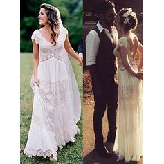 Magnificent Floor-Length A-Line/Princess Wedding Dresses V-neck Lace Short Sleeves