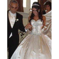Magnificent Royal Train Ball-Gown Wedding Dresses Sweetheart Satin Sleeveless