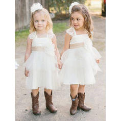 Knee-length Sleeveless Satin/Tulle/Lace With Glamorous Flower Girl Dresses (010145205)