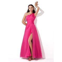 A-Line/Princess Floor-Length Prom Dresses One-Shoulder Chiffon Sleeveless (018005062)