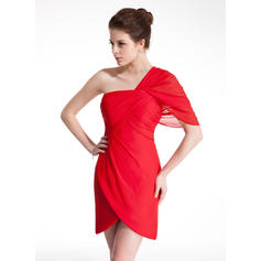 Sheath/Column Short/Mini Homecoming Dresses One-Shoulder Chiffon Sleeveless