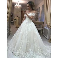 Tulle Glamorous Wedding Dresses With Ball-Gown Off-The-Shoulder
