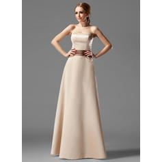 A-Line/Princess Satin Bridesmaid Dresses Sash Strapless Sleeveless Floor-Length
