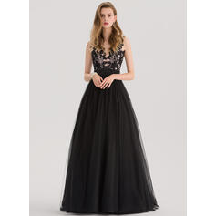 Ball-Gown V-neck Sweep Train Tulle Prom Dresses With Beading Sequins (018138362)