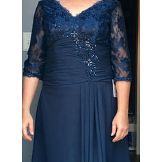 A-Line/Princess V-neck Chiffon 1/2 Sleeves Floor-Length Beading Sequins Mother of the Bride Dresses