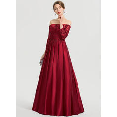 Ball-Gown/Princess Off-the-Shoulder Floor-Length Satin Prom Dresses (018192375)