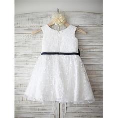 Hasta la rodilla Sin mangas Encaje con Glamuroso Vestidos para niña de arras (010211968)