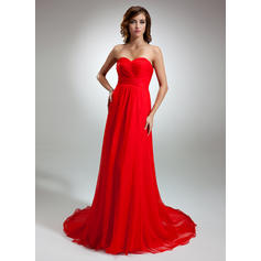 A-Line/Princess Sweetheart Court Train Evening Dresses With Ruffle (017016345)