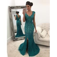 A-Line/Princess V-neck Tulle Sleeveless Sweep Train Beading Sequins Evening Dresses