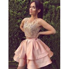 A-Line/Princess Scoop Neck Short/Mini Satin Homecoming Dresses With Ruffle