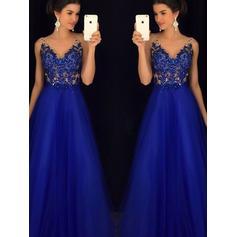 Renda Beading Apliques de Renda Decote V com Vestidos princesa/ Formato A Tule Vestidos de festa