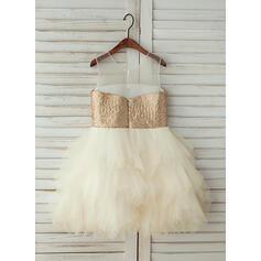 Vestidos princesa/ Formato A Coquetel Vestidos de Menina das Flores - Tule/Lantejoulas Sem magas Decote redondo com lantejoulas (010123029)