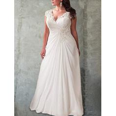 Newest Chiffon Wedding Dresses With Cap Straps Ruffle Lace