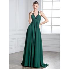 Empire Halter Watteau Train Chiffon Prom Dresses With Ruffle Beading