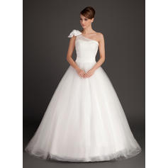 Flattering General Plus One Shoulder Ball-Gown Tulle Wedding Dresses (002196893)