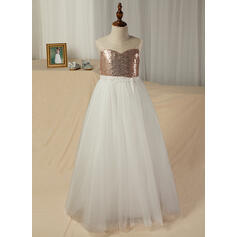 A-Line/Princess Floor-length Flower Girl Dress - Tulle/Lace/Sequined Sleeveless Scoop Neck With Sash/V Back (Detachable sash)