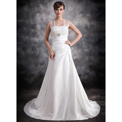 A-Line/Princess Sweetheart Court Train Wedding Dresses With Ruffle Beading