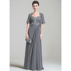 Forme Princesse Mousseline Sans manches Amoureux Longueur ras du sol Fermeture éclair Robes mère de la mariée (008074199)