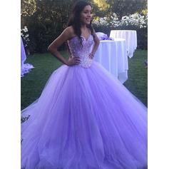 Sweep Train Strapless Tulle Ball-Gown Prom Dresses