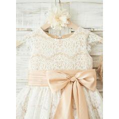 Forme Princesse Longueur genou Robes à Fleurs pour Filles - Tulle/Dentelle Sans manches Col rond (010122618)
